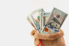 Dollars in the bag as a symbol of economic growth and success Royalty Free Stock Photos