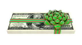 Dollars bank notes, tied a red ribbon with a bow Royalty Free Stock Photos