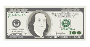 100 Dollars Banknote, bill one hundred dollars, american president Benjamin Franklin. 100 Dollars Banknote. Bill one hundred dollars. Suitable for discount cards stock illustration