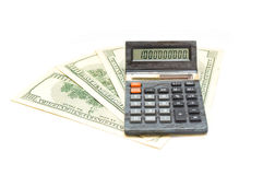 Dollars banknote and calculator Royalty Free Stock Images