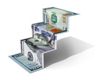 100 dollars banknote folded as steps. On white background, 3d illustration Vector Illustration