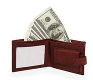 100 dollars banknote in open brown leather purse Royalty Free Stock Photo
