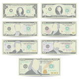 Dollars Banknote Set Vector. Cartoon US Currency. Front Side Of American Money Bill Isolated Illustration. Cash Dollar. Symbol. Every Denomination Of US Royalty Free Stock Image