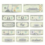Dollars Banknote Set Vector. Cartoon US Currency. Two Sides Of American Money Bill Isolated Illustration. Cash Dollar. Symbol. Every Denomination Of US Currency Royalty Free Stock Images