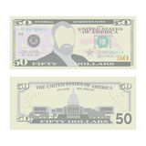 50 Dollars Banknote Vector. Cartoon US Currency. Two Sides Of Fifty American Money Bill Isolated Illustration. Cash Stock Image