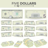 5 Dollars Banknote Vector. Cartoon US Currency. Two Sides Of Five American Money Bill Isolated Illustration. Cash Symbol Stock Images
