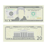 20 Dollars Banknote Vector. Cartoon US Currency. Two Sides Of Twenty American Money Bill Isolated Illustration. Cash Royalty Free Stock Photo