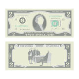 2 Dollars Banknote Vector. Cartoon US Currency. Two Sides Of Two American Money Bill  Illustration. Cash Symbol Royalty Free Stock Photos