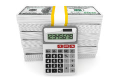 Dollars banknotes with calculator Royalty Free Stock Image