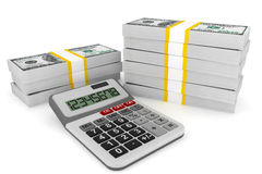Dollars banknotes with calculator Stock Image
