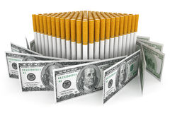 Dollars banknotes with Cigarette Stock Images