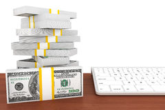 Dollars banknotes and Computer keyboard Stock Images