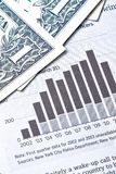 Dollars banknotes near a financial chart Royalty Free Stock Photo
