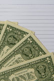 Dollars banknotes on notebook for financial concept Royalty Free Stock Photography