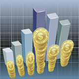 Dollars and bar graph background Royalty Free Stock Photo