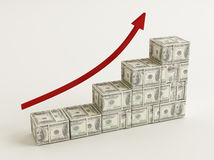 Dollars Bar Graph. Stack of $100 bills  on white background Royalty Free Stock Images