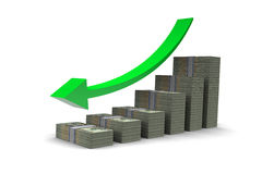 Dollars Barchart Down Trend Stock Photos