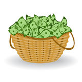 Dollars basket. Vector illustration. Financial profit concept. Basket with dollar bills. Vector illustration. Financial profit concept Stock Photos