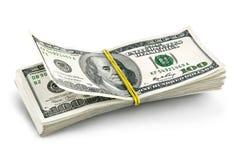 Dollars batch falling. On white background Stock Image