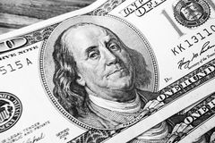 Dollars with Benjamin Franklin. Benjamin Franklin. Qualitative portrait on 100 dollars banknote Stock Photos