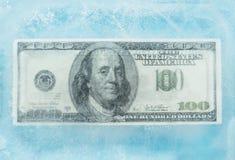 100 dollars bevroren smelting Stock Foto