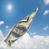 Dollars bij de visserij van haak Stock Afbeelding