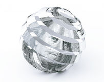 Dollars Bill as Abstract Spiral Sphere Stock Photos