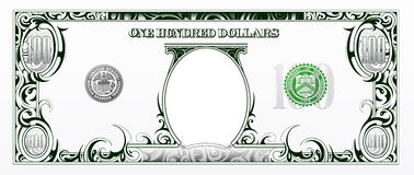 One hundred dollar bill. Cartoon money royalty free stock photography