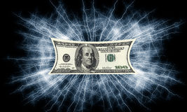 Dollars bill electrified money Stock Photo