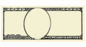 100 dollars Bill Front avec le copyspace, d'isolement pour la conception Photo libre de droits