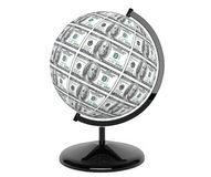 Dollars Bills as globe. On a white background Royalty Free Stock Image
