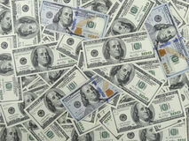 100 Dollars Bills Background - 1 Face Stock Photo