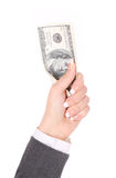 Dollars bills in businesswoman hand isolated Royalty Free Stock Photo