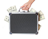 Dollars bills in case in female hand isolated, money in suitcase Stock Image