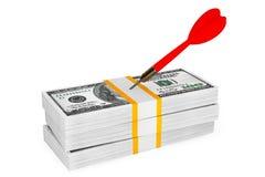 Dollars Bills with Darts Arrow on top Stock Photography
