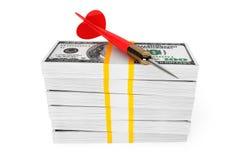 Dollars Bills with Darts Arrow on top Stock Image