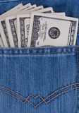 Dollars bills in jeans pocket Stock Photography