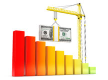 Dollars Bills lifted by Hoisting Crane Stock Photo