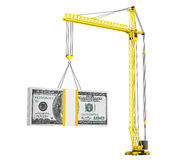 Dollars Bills lifted by Hoisting Crane. On a white background Royalty Free Stock Photography