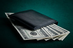 Dollars bills in wallet Royalty Free Stock Images