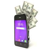 Dollars binnen slim telefoon 3d concept Royalty-vrije Stock Fotografie