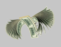 Dollars,Birds, Origam 10. Dollar banknotes in the form of a flying bird. Isolated on grey Stock Photography
