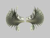 Dollars,Birds, Origami 5. Dollar banknotes in the form of a flying bird. Isolated on grey Stock Photography