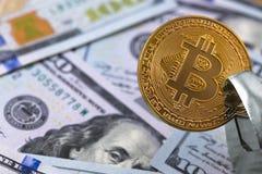 Dollars and bitcoin royalty free stock photos