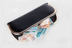Dollars in black purse Royalty Free Stock Photo