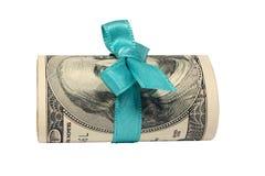 Dollars with a blue bow Stock Photos