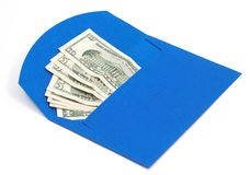 Dollars in blue envelope Royalty Free Stock Images