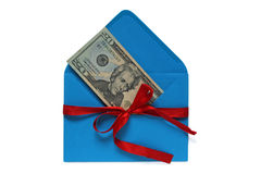 Dollars in blue envelope tied with red ribbon Stock Photo