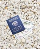 Dollars in blue passport on pebble pebble shingle Stock Photos