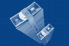 Dollars - Blueprint sketch Stock Photography